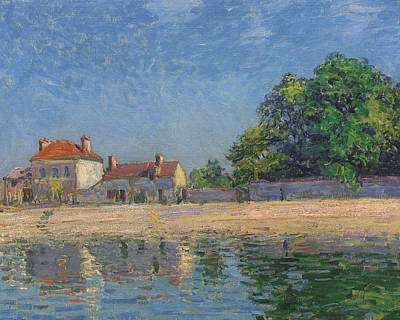 Reflecting Water Painting - The Banks Of The Loing by Alfred Sisley