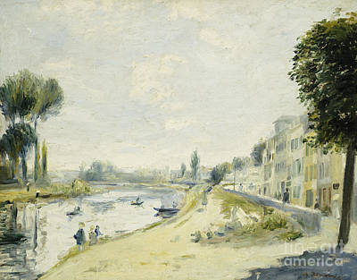 Nice House Painting - The Banks Of The Seine At Bougival by Pierre Auguste Renoir