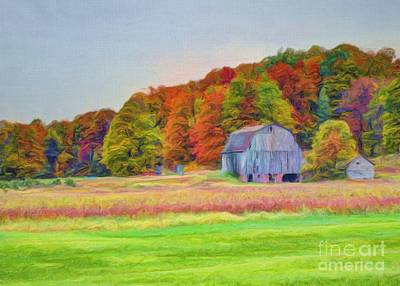 The Barn In Autumn Art Print by Michael Garyet