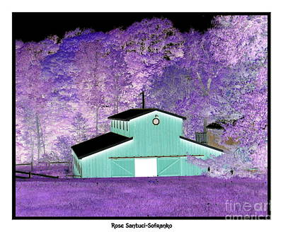 Negative Effect Digital Art - The Barn Negative Inverted Effect by Rose Santuci-Sofranko