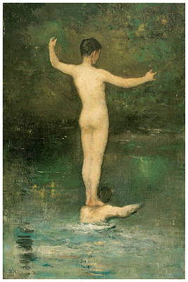 Fine Art In America Painting - The Bathers by William Morris Hunt