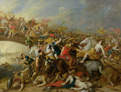 The Battle Between The Amazons And The Greeks Print by Pauwel Casteels