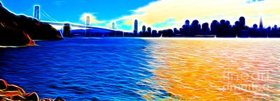 Bay Bridge Digital Art - The Bay Bridge And The San Francisco Skyline . Panorama by Wingsdomain Art and Photography