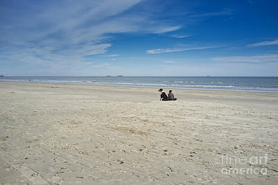 Photograph - The Beach - Large Dog Sitting Next To A Woman by Andre Babiak