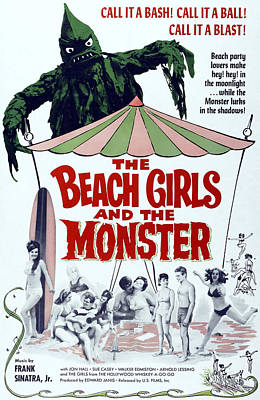 Horror Movies Photograph - The Beach Girls And The Monster by Everett