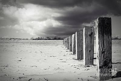 The Beach Monochrome Art Print by Stephen Clarridge