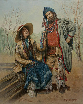 Pioneer Woman Painting - The Bead Traders  by C Michael French