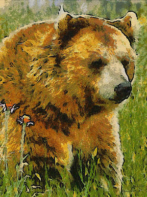 Digital Art - The Bear Painterly by Ernie Echols