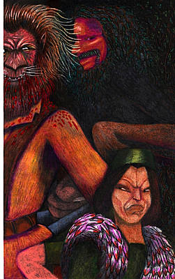 Exchange Mixed Media - The Beast Meets With Asema And The Forest Lord by Al Goldfarb