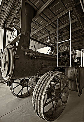 Steam Tractor Photograph - The Beast Sepia by Steve Harrington