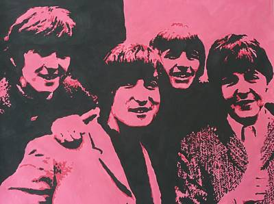 The Beatles In Pink Art Print
