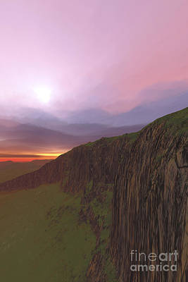 Plateau Digital Art - The Beautiful Earth At Sunset by Corey Ford