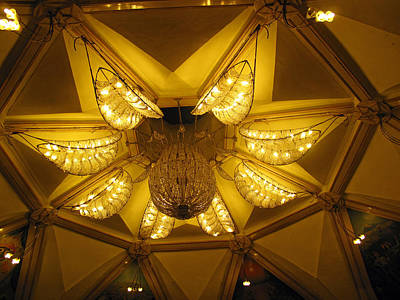 The Beautifully Lit Chandelier On The Ceiling Of The Iskcon Temple In Delhi Art Print by Ashish Agarwal