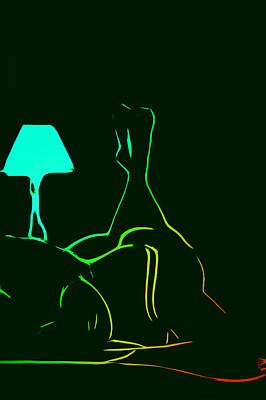 Female Body Digital Art - The Bedroom Lamp by Steve K