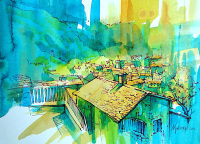 Graphics Painting - The Beginning Of Hot Day In Fiumalbo by Khromykh Natalia