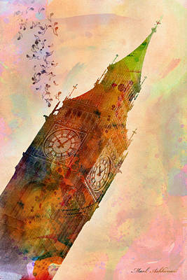Signed Digital Art - The Big Ben by Mark Ashkenazi