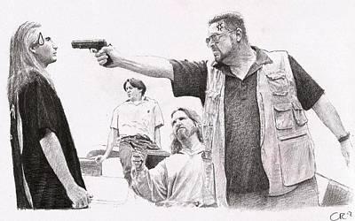 Lebowski Drawing - The Big Lebowski by Chris Riley