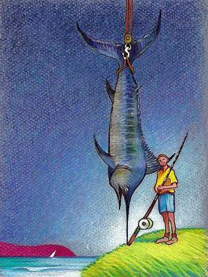 Swordfish Drawing - The Big One by Rob M Harper