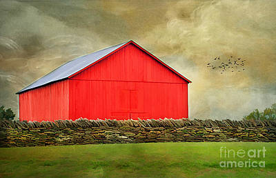 Red Roof Photograph - The Big Red Barn by Darren Fisher