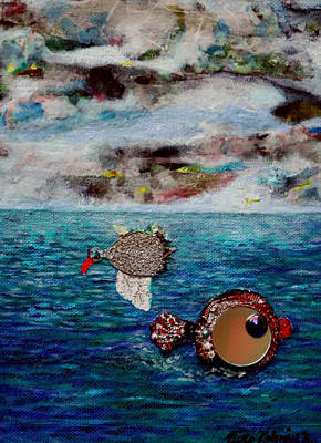 Riitta Painting - The Bird And The Fish by Riitta Kalenius