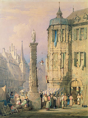 S Palace Painting - The Bishop's Palace Wurzburg by Samuel Prout