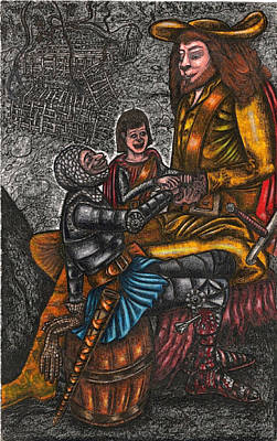 The Black Knight Thanks The Beast For Saving Him Art Print by Al Goldfarb