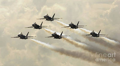 Photograph - The Blue Angels Perform Their Delta by Stocktrek Images