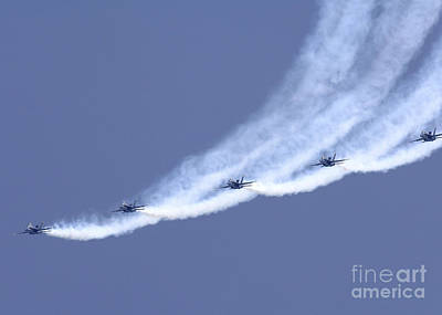 Photograph - The Blue Angels Performing A Line by Stocktrek Images