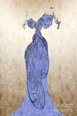 Fabric Mixed Media - The Blue Dress by Andee Design