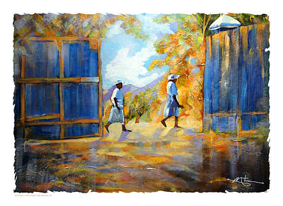 Haitian Painting - The Blue Gates Of Haiti by Bob Salo