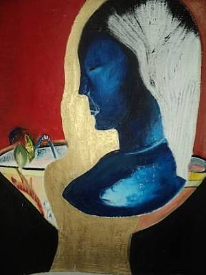 Stature Painting - The Blue Masked Woman With Shadows Of Doubt by Cecilia Du toit