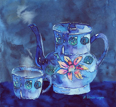 The Blue Teapot Print by Arline Wagner