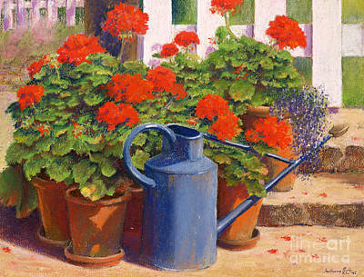 Water Garden Wall Art - Painting - The Blue Watering Can by Anthony Rule