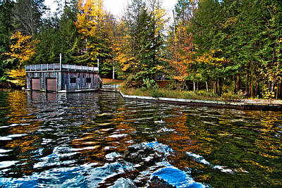 Fir Trees Photograph - The Boathouse On Arrowhead Park Waterway  by David Patterson