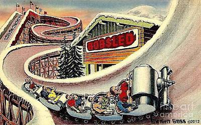 Painting - The Bobsled Ride At The N Y World's Fair 1939 by Dwight Goss