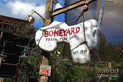 Digital Art - The Boneyard Sign Animal Kingdom Walt Disney World Prints Diffuse Glow by Shawn O'Brien