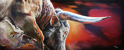 Bright Colored Longhorn Painting - The Boss by Rick Unger