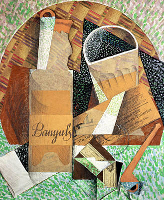 Bottle Painting - The Bottle Of Banyuls by Juan Gris