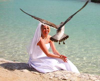 Digital Art - The Bride And The Sea Gull by Carrie OBrien Sibley
