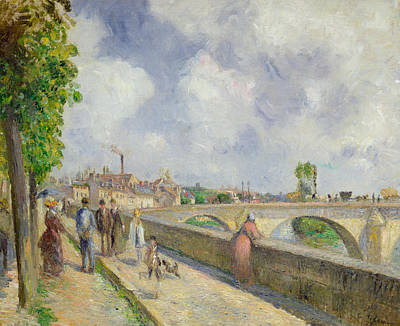 1878 Painting - The Bridge At Pontoise by Camille Pissarro