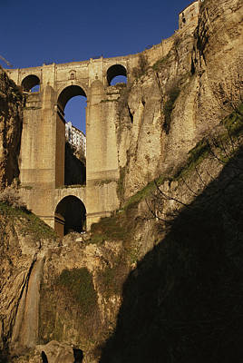 The Bridge At Ronda Spain Connects Print by Stephen Alvarez