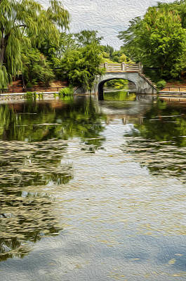 The Bridge On The Pond. Art Print