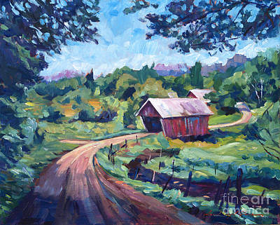 Road Painting - The Bridges Of East Randolph Vermont by David Lloyd Glover