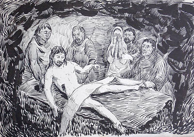 Weep Drawing - The Burial Of The Lord by Bill Joseph  Markowski