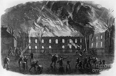 The Burning Of The U.s. Arsenal Art Print by Photo Researchers