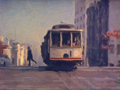 Hill Painting - The Cable Car Jump Off by Nop Briex