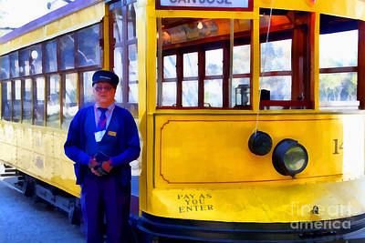 Photograph - The Cablecar Motorman . 7d12868 by Wingsdomain Art and Photography