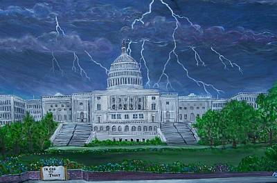 Us Capital Painting - The Calm Before The Storm by Jim  Hunsucker