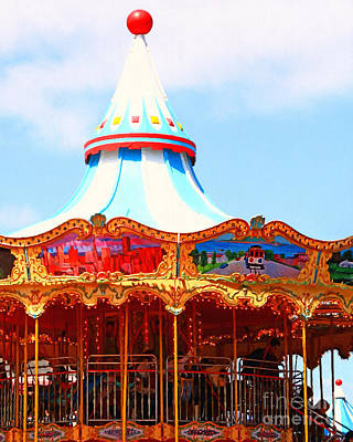 The Carousel At Pier 39 San Francisco California . 7d14342 Art Print by Wingsdomain Art and Photography