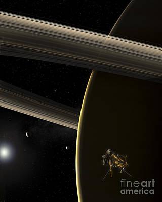 The Cassini Spacecraft In Orbit Art Print by Steven Hobbs